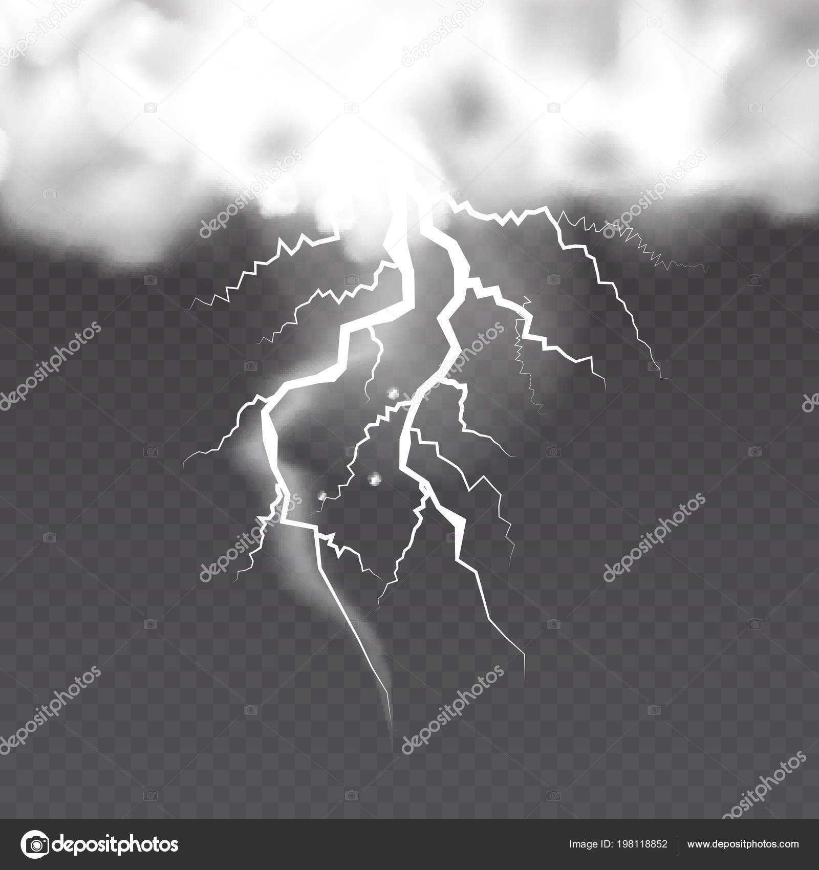 Realistic Clouds Lightnings Transparent Background — Stock