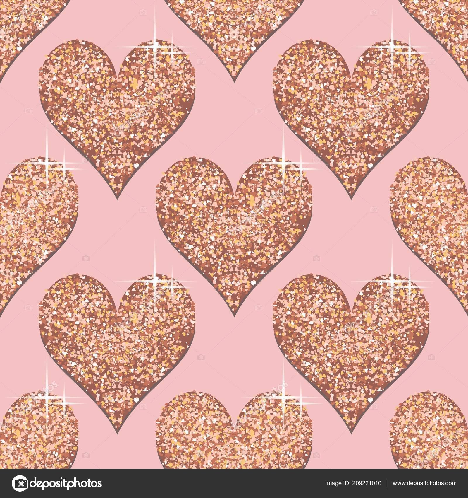 Seamless Pattern Rose Gold Hearts Pink Golden Metallic Textured