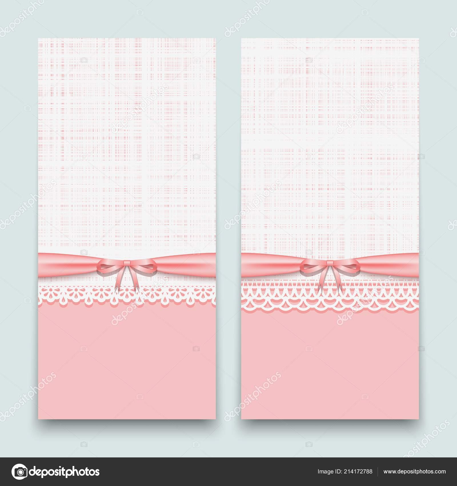 Tarjetas Rosa Encaje Con Cinta Lazo Diseño Invitaciones Boda ...
