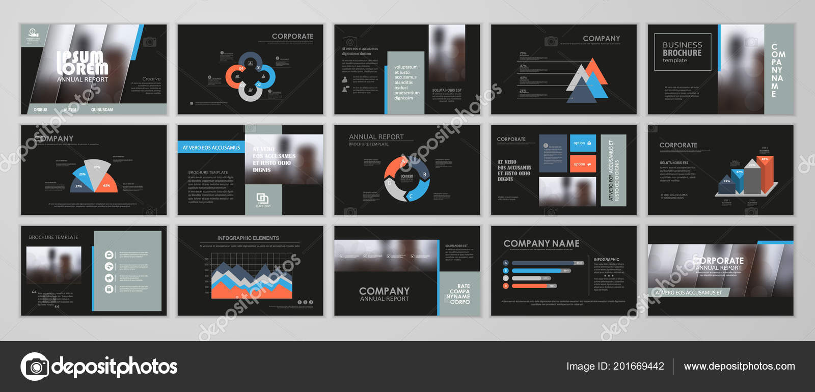 black abstract presentation slide templates infographic elements