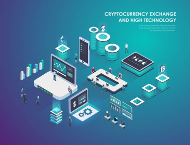 Cryptocurrency and blockchain isometric composition, virtual augmented reality concept with business people. Smart city technology. Landing page template. Isometric vector illustration.