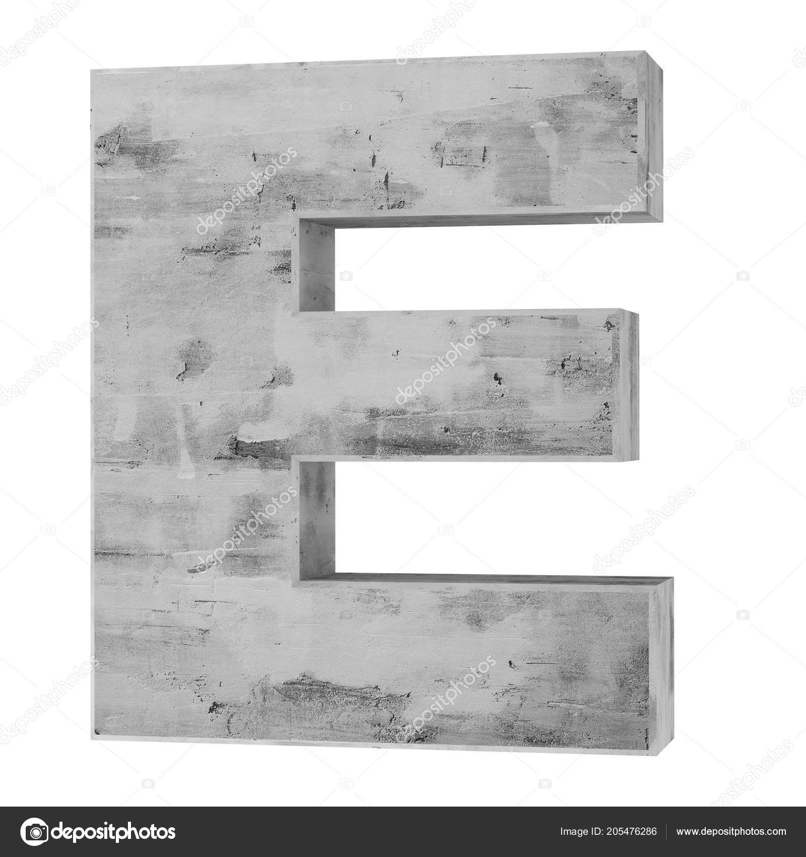 Concrete Capital Letter Isolated White Background Render