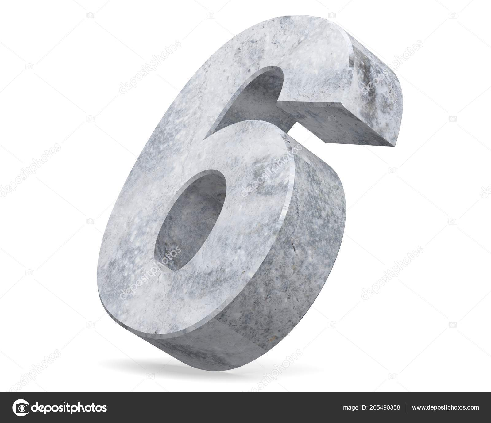 2c436ea0d40cc 3D rendering concrete number 6 six. 3D render Illustration.– stock image