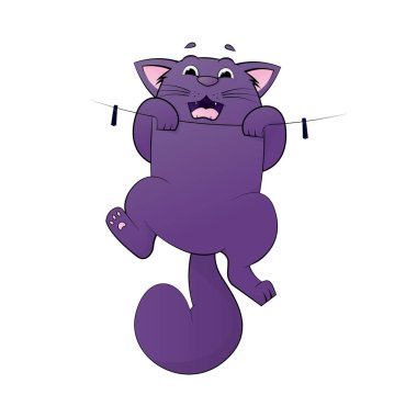 Vector of cartoon images of cute different cat with different action. Cat hanging on rope. Pet. Vector Illustration