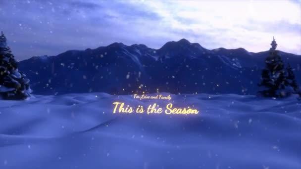 eine Animation der Weihnachtsszene, die mit einem Weihnachtsbaum und einem goldenen Schriftzug endet