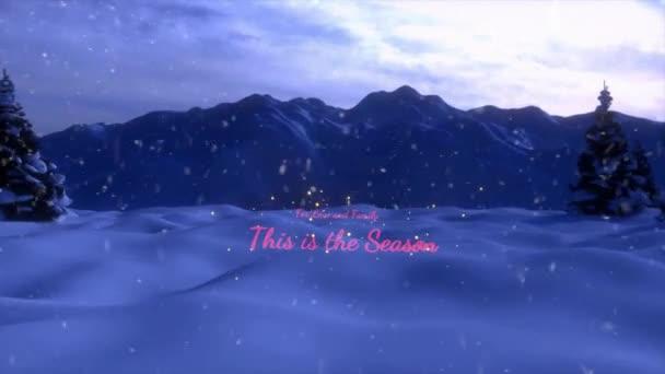 eine Animation der Weihnachtsszene, die mit einem Weihnachtsbaum und einem rot-goldenen Schriftzug endet