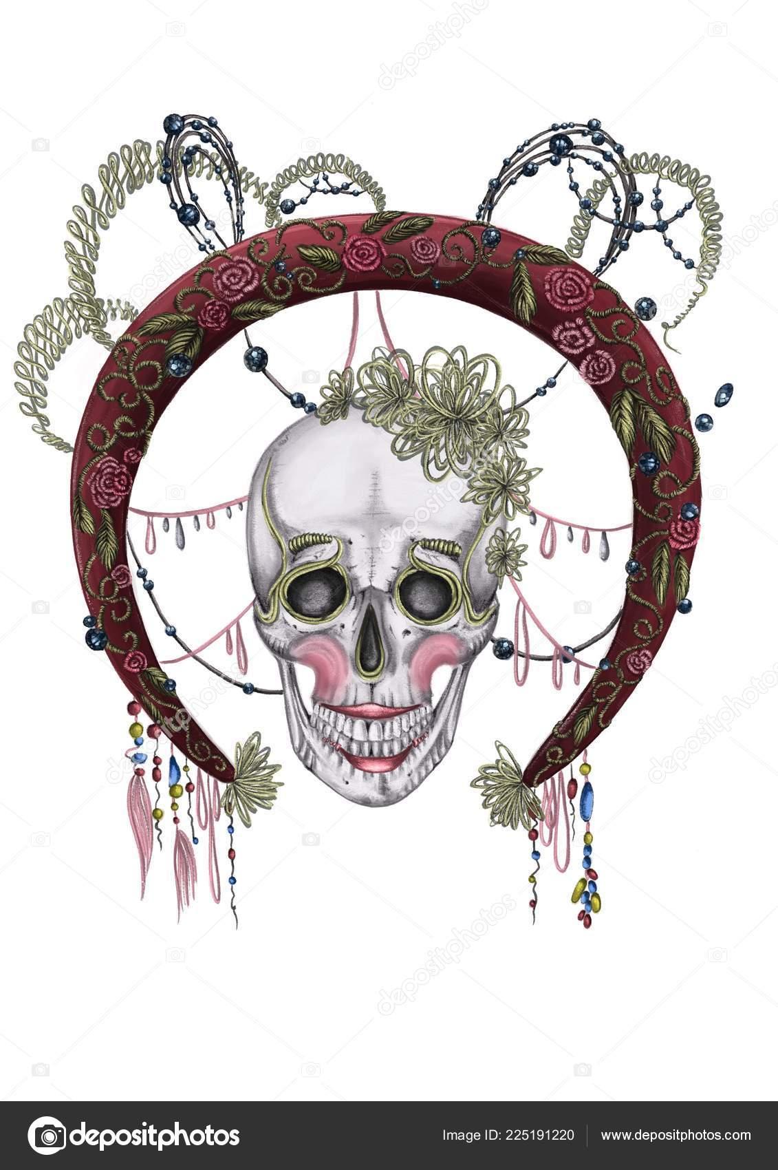 Día Muerte Víspera Todos Los Santos Ilustración Cráneo Con ...