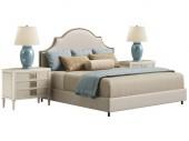 Klasszikus Hálószoba bútorok fehér háttér. Digitális illusztráció. 3D-leképezés