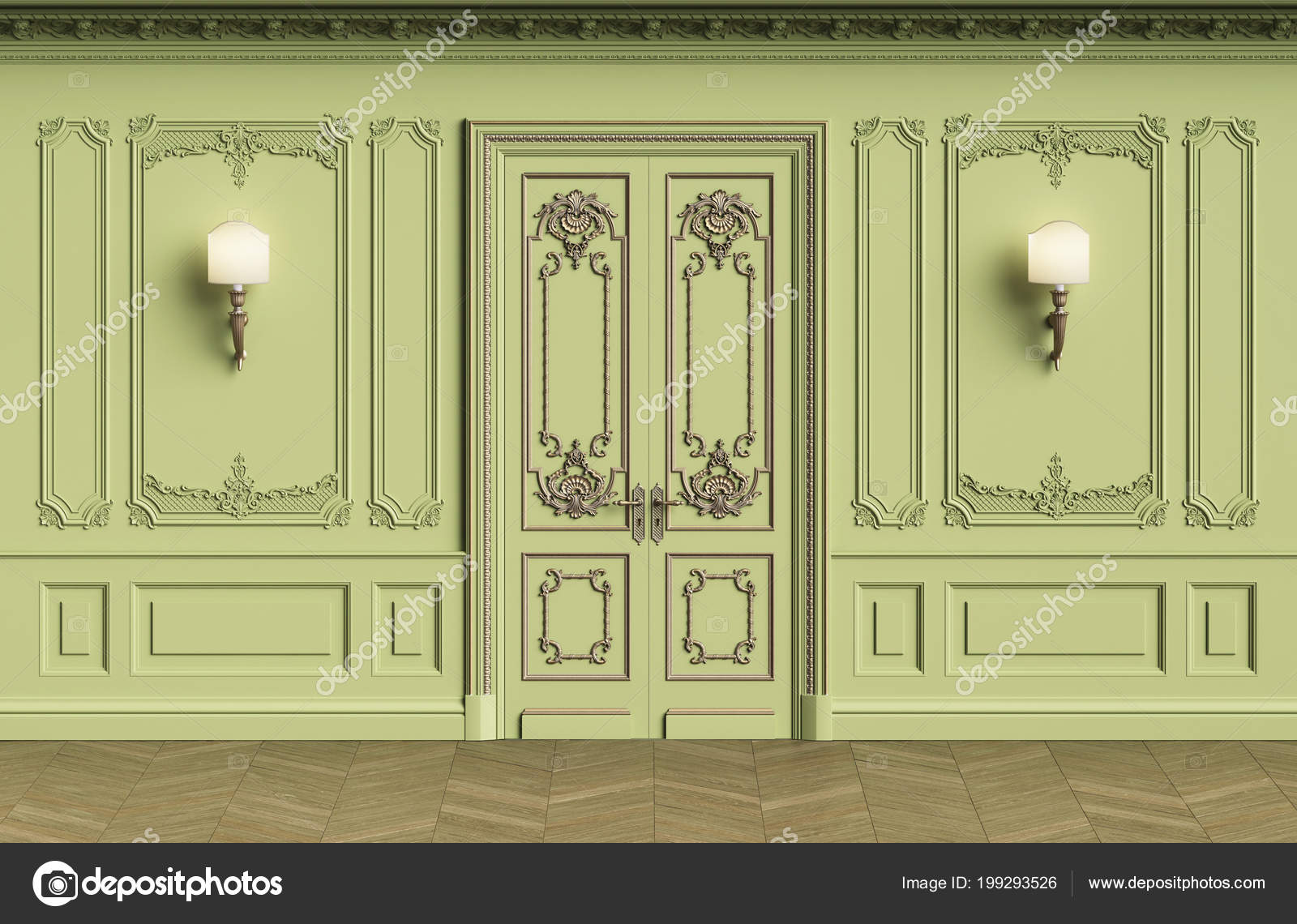 Classic Interior Walls Copy Space Walls Mouldings Ornated Cornice ...