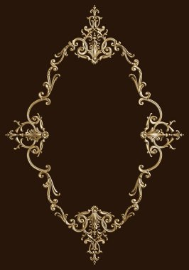 Classic decor frame with ornament decor for classic interior isolated on black background. Digital illustration. 3d rendering stock vector