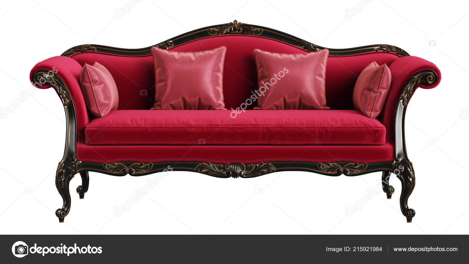 Incredible Classic Sofa Red Black Gold Colors Isolated White Background Pabps2019 Chair Design Images Pabps2019Com