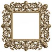 Klasszikus arany négyzet alakú keret elszigetelt fehér background dísz-dekor. Digitális illusztráció. 3D-leképezés