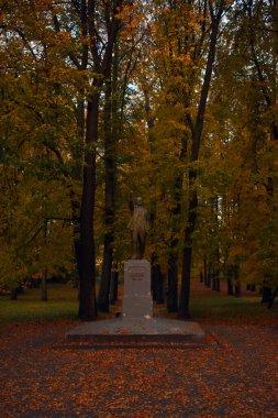 Lenin Monument in autumn park