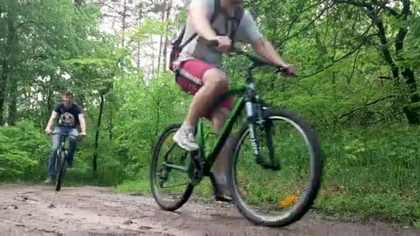 Zdravý životní styl, skupina přátel na kolech na lesní cestě, pohled zespodu