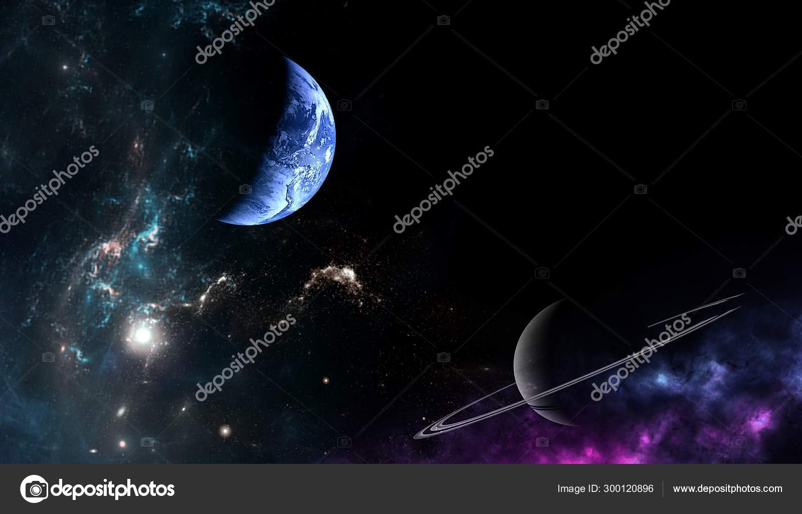 depositphotos 300120896 stock photo planets galaxy science fiction wallpaper