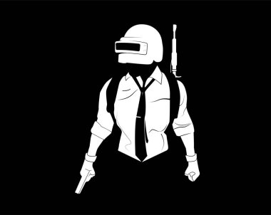 Pubg player. Black and white