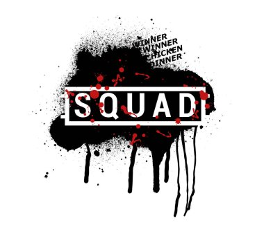 SQUAD - vector abstract illustration in grunge style. PUBG