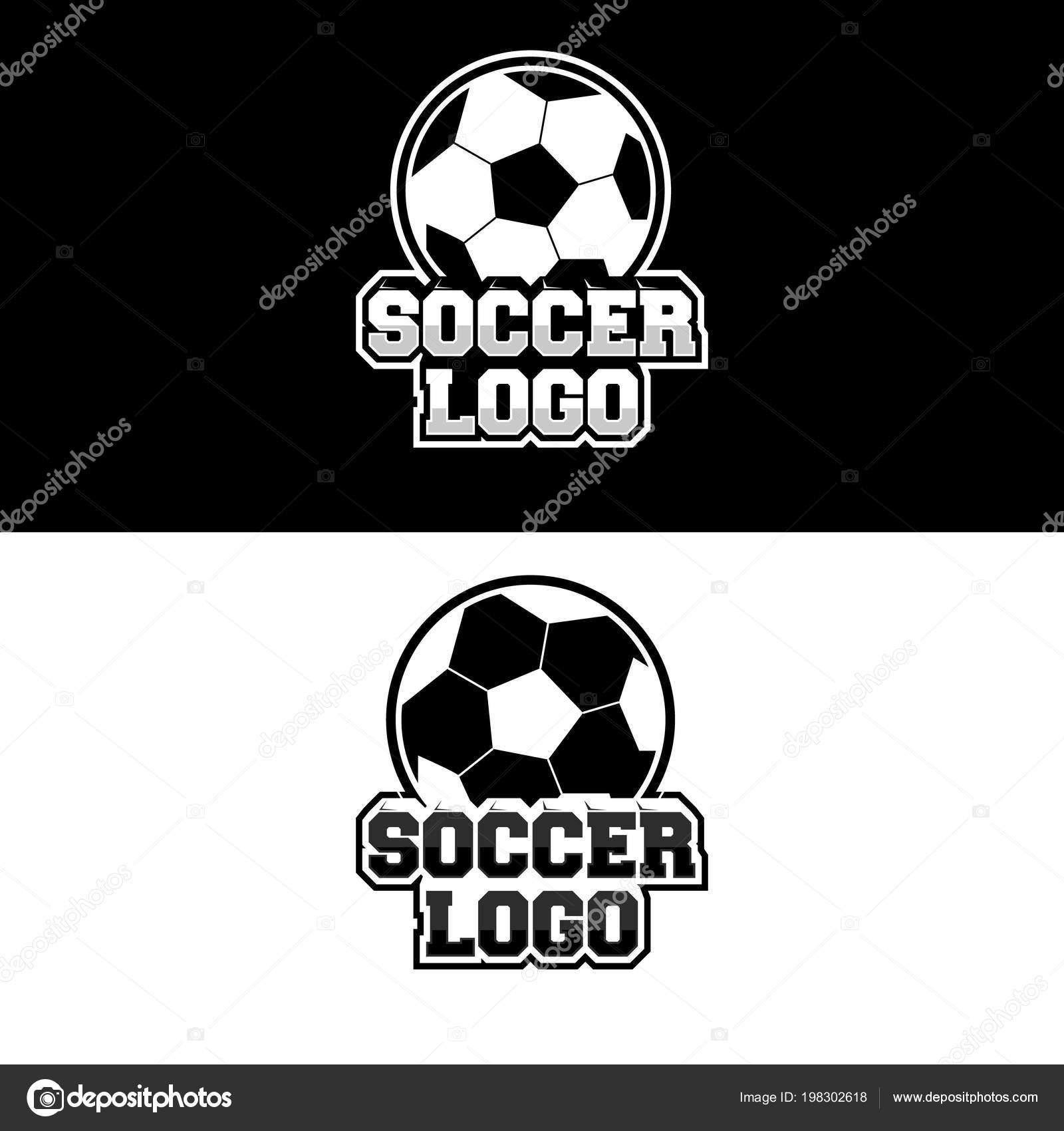 6db8f2cf2a3c0 Diseño Logotipo Fútbol Para Equipo Jugador Con Variaciones Blanco Negro —  Vector de stock