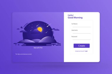 Sing up Form Landing Page Design Template Concept Vector Illustration