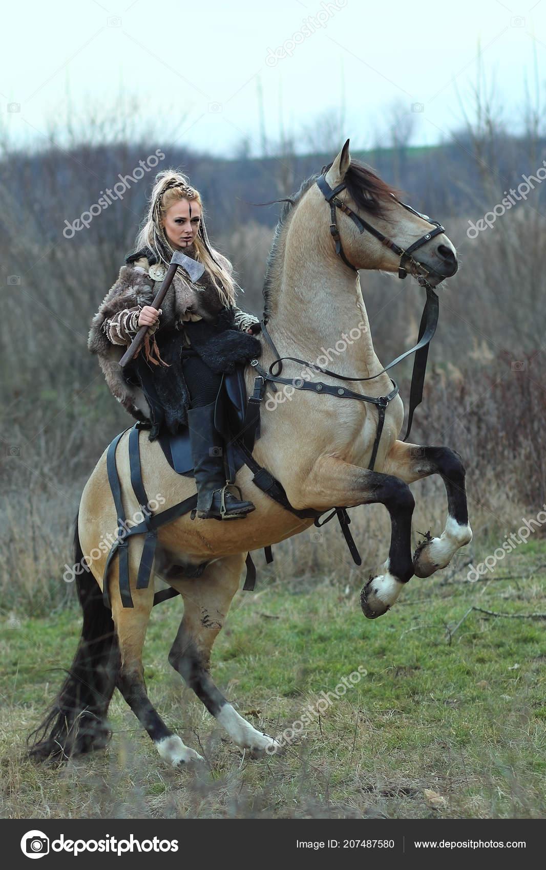 Viking Warrior Woman Makeup Blonde Viking Warrior Woman Riding Horse Hand Scandinavian Warrior Woman Stock Photo C Dan Rentea Yahoo Com 207487580
