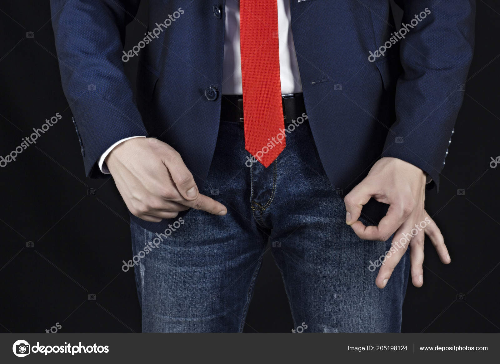 Male Businessman Showing Gesture Class At Inguinal Area Erection