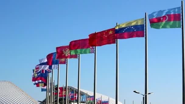 Flags near the stadium Fisht in Sochi