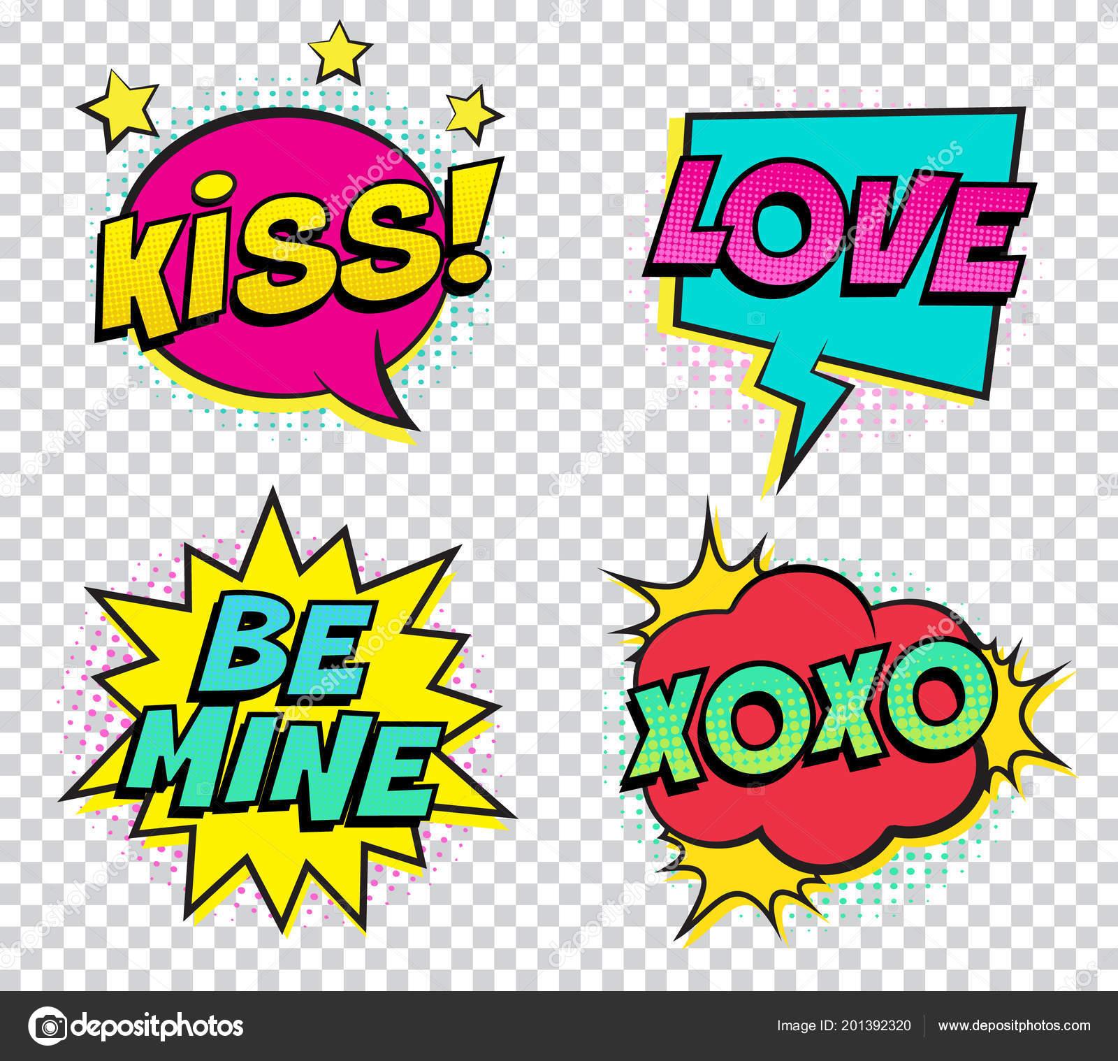 Retro Bunte Comic Sprechblasen Zum Valentinstag Eingestellt Auf