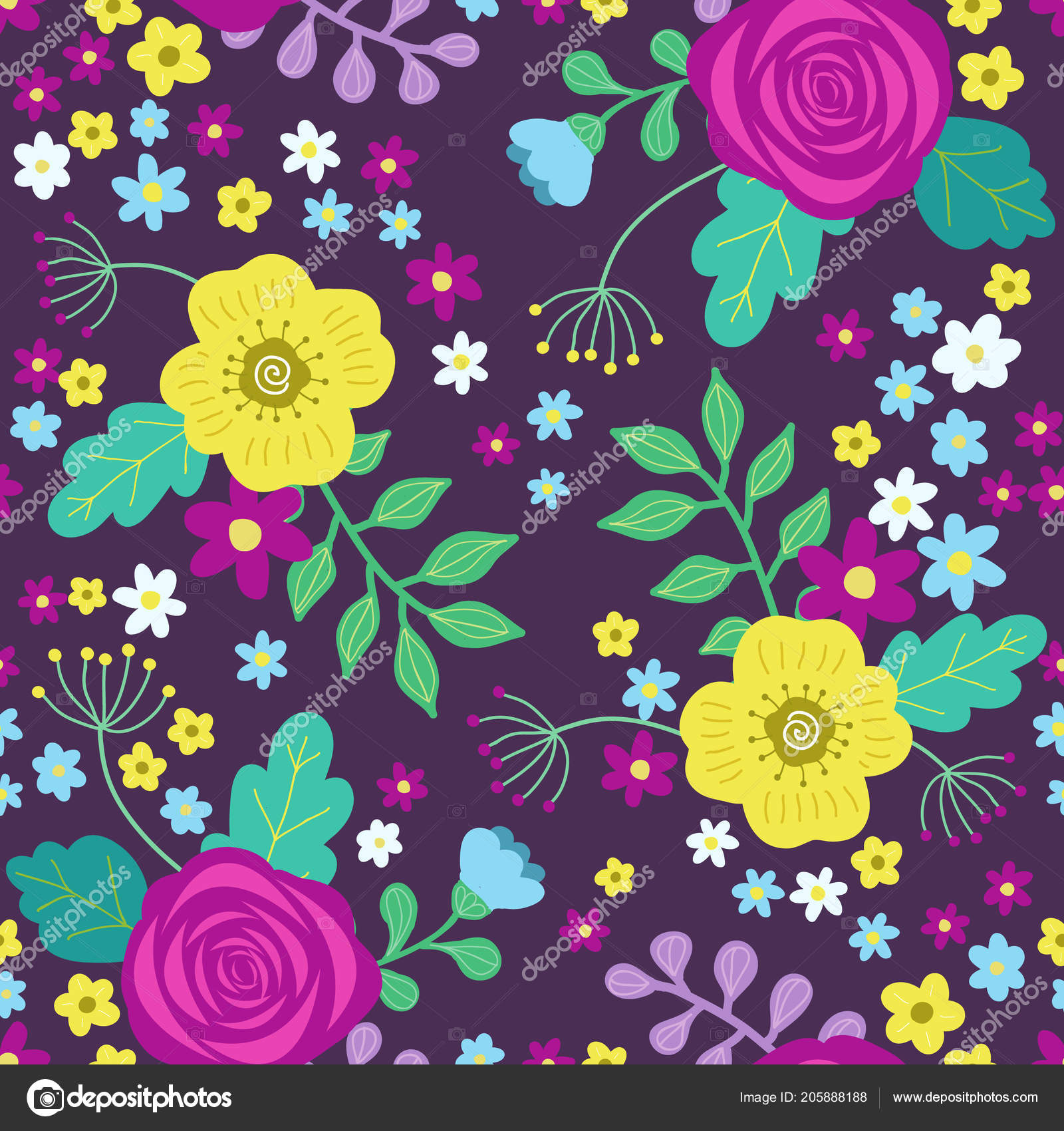 Floral Colorful Seamless Pattern Purple Yellow Roses Blue Flowers