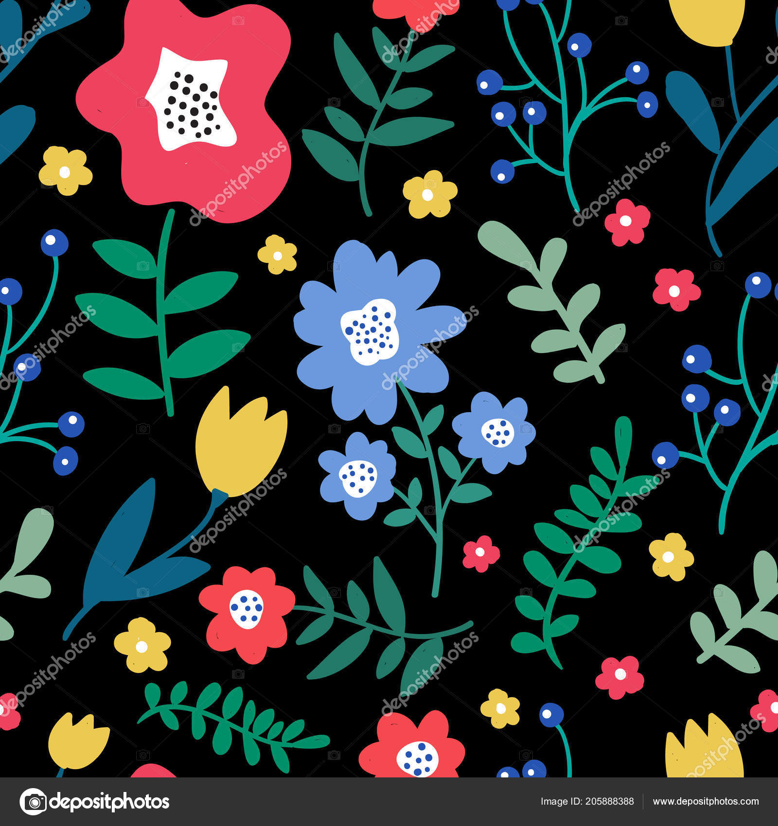 Seamless Colorful Floral Pattern Wild Flowers Black