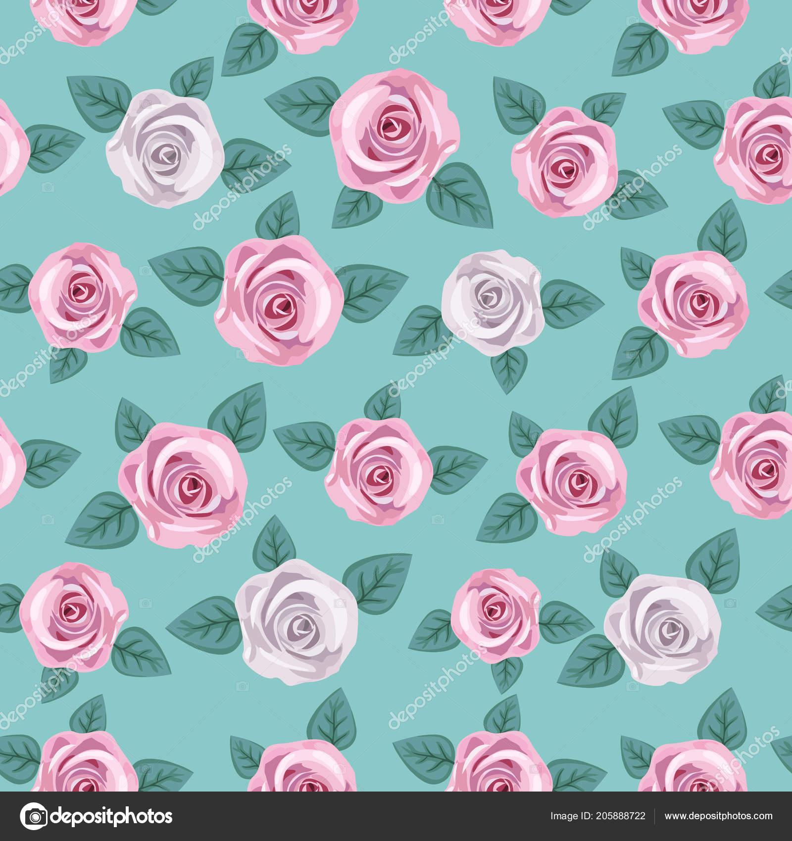 Seamless Elegant Floral Pattern Pink White Roses Mint Green