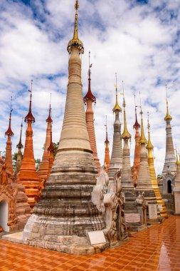 INDEIN VILLAGE, MYANMAR - AUG 31, 2016: Shwe Indein Pagoda, a group of Buddhist pagodas near Ywama and Inlay Lake in Shan State, Burma