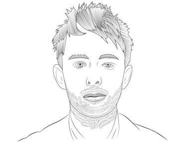 JANUARY 31 2019: The illustration of Thom Yorke,  editorial use only