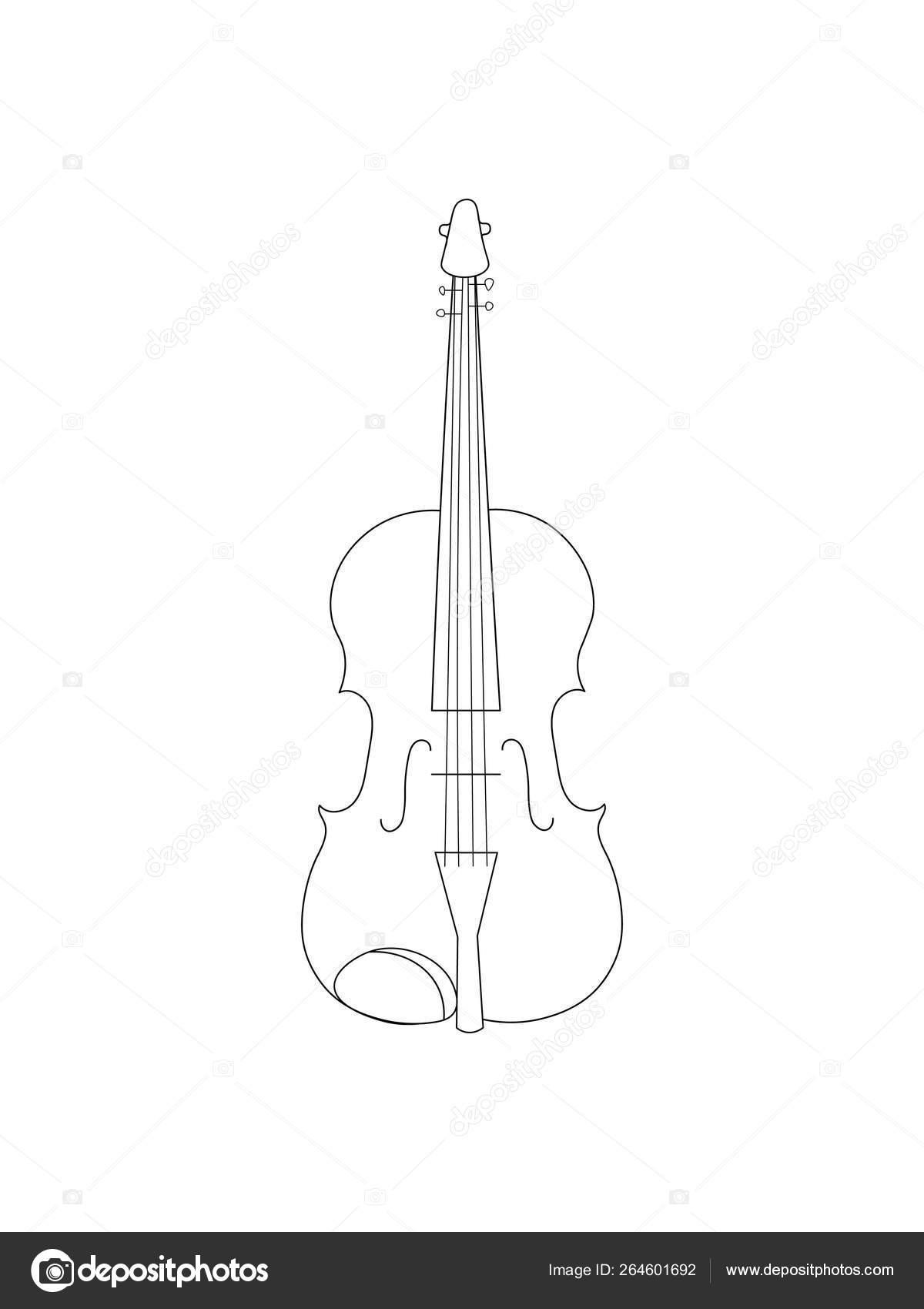 Linha Preta Simples Desenho Instrumento Musical Contorno Violino