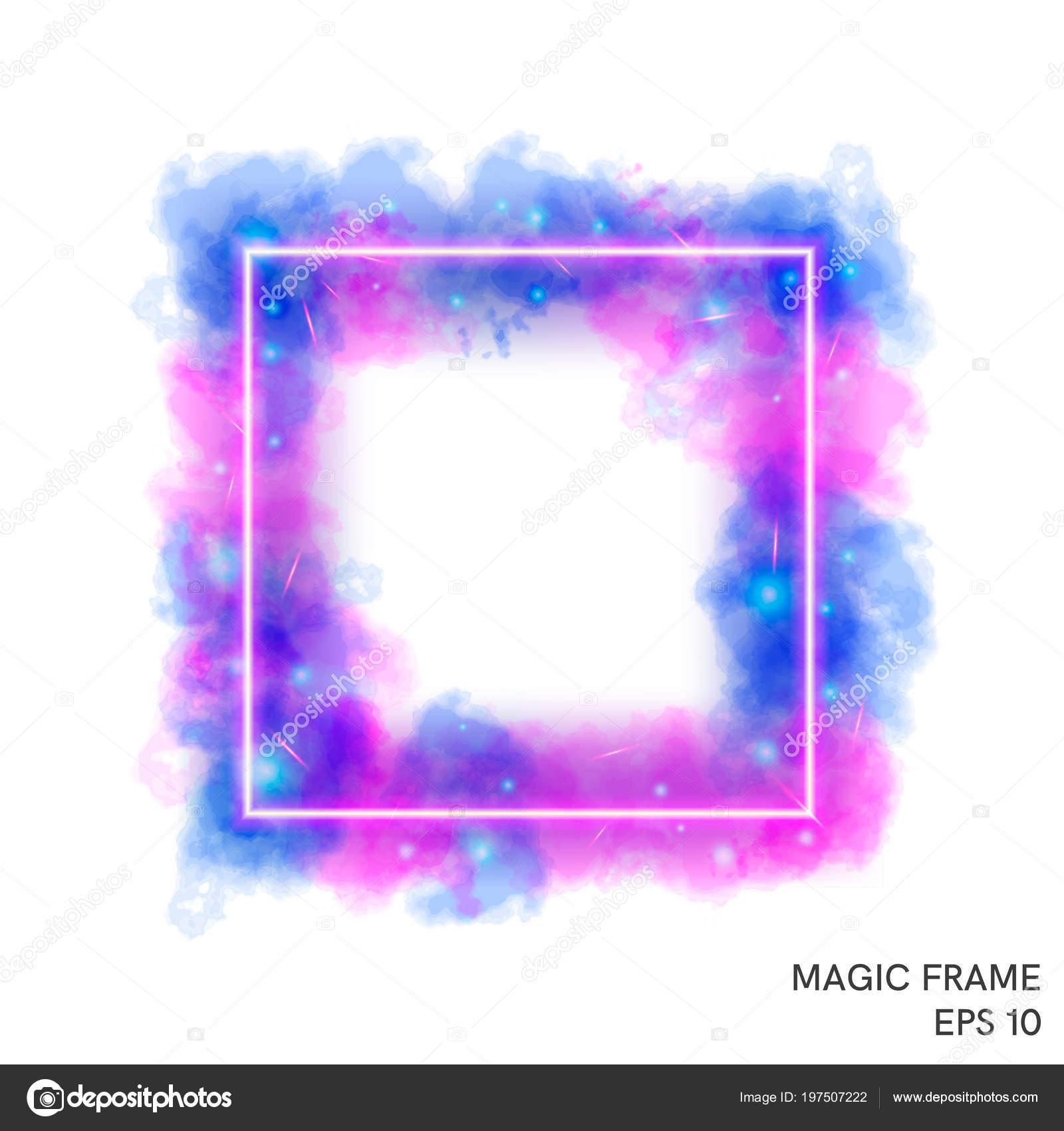 Marco de fuego mágica acuarela con contador de neón — Vector de ...
