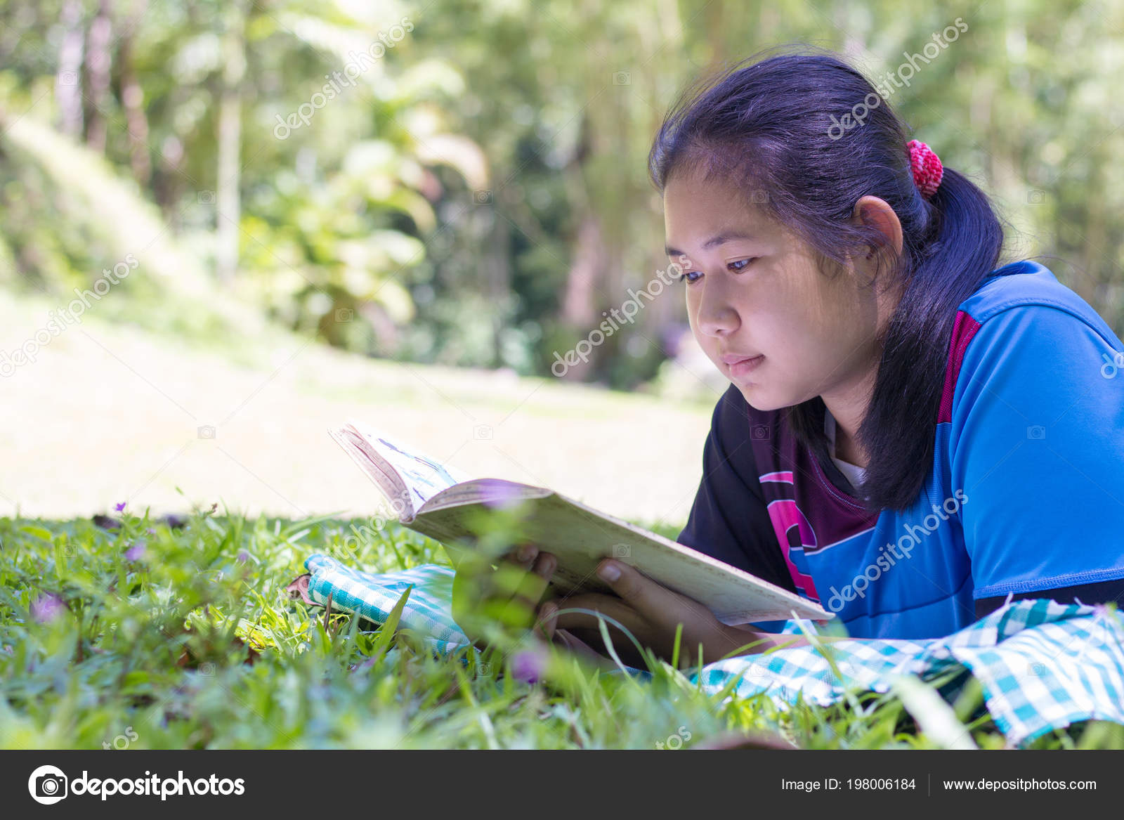 Children Read Book Next Rocks Midst Nature Natural