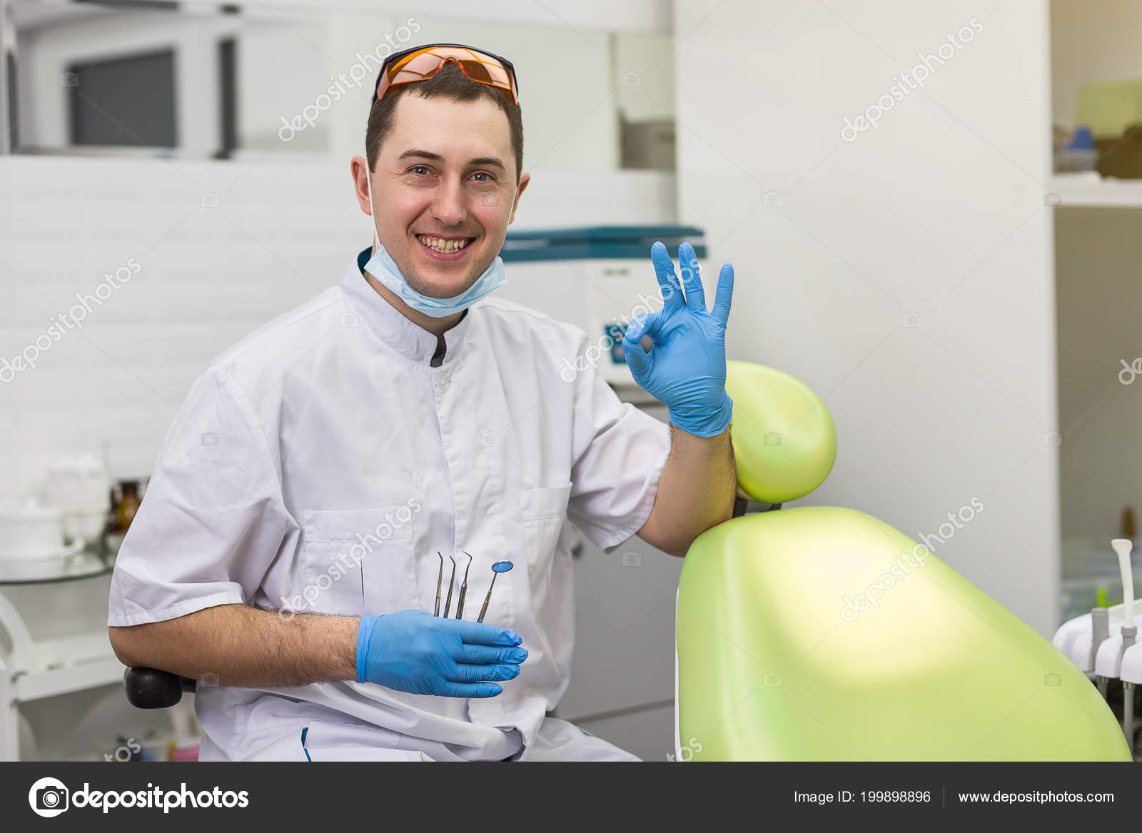 Male Dentist Standing Medical Office Background Healthcare