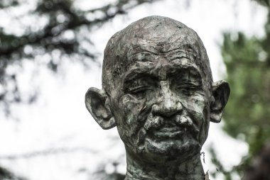 Bronze Bust of Mahatma Gandhi in the EUR District, Piazza Ghandi, Rome, Italy