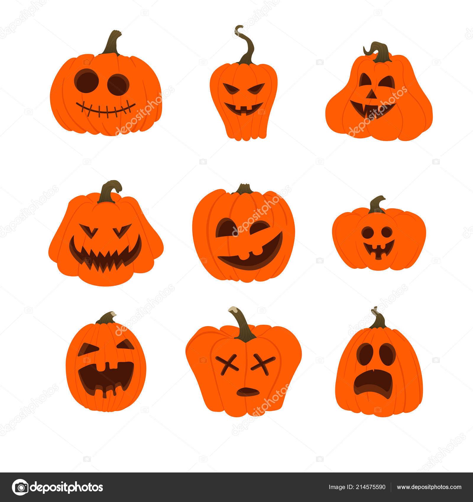 Facce Zucche Di Halloween.Set Icone Vettore Halloween Zucche Arancioni Semplice Con Facce