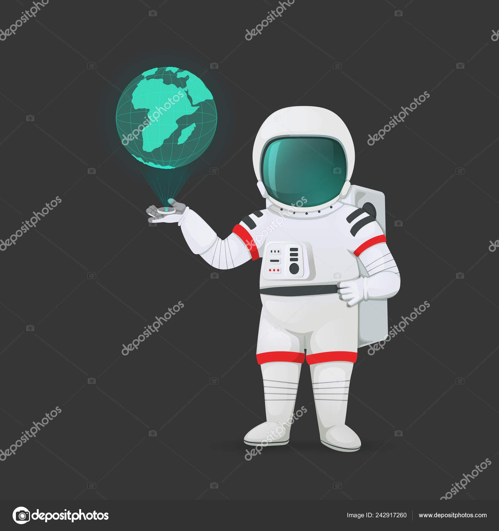 Astronauta con dispositivo ologramma proiettando pianeta terra