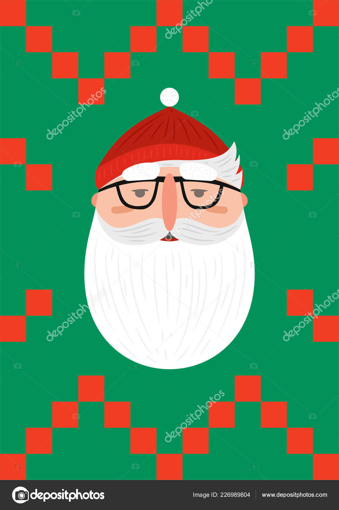 562cb0ff5f0 Bearded hipster Santa Claus — Stock Vector © TatyanaBakul  226989804