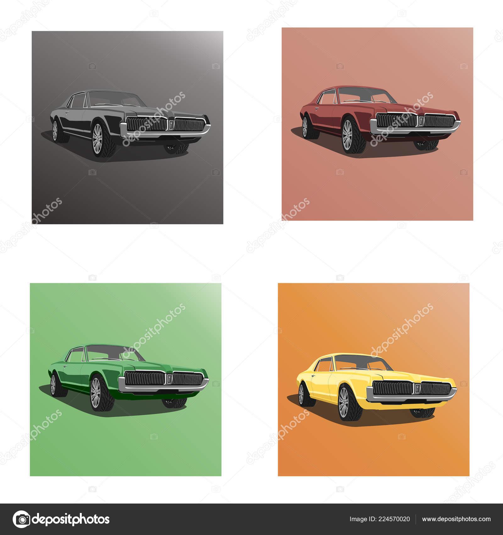Retro American Muscle Car Vector Image Stock Vector C Posterua