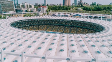 Olympic Stadium. April 5, 2018. Kiev. Ukraine. Aerial view of the Olympic NSC. Champions League. Football field.