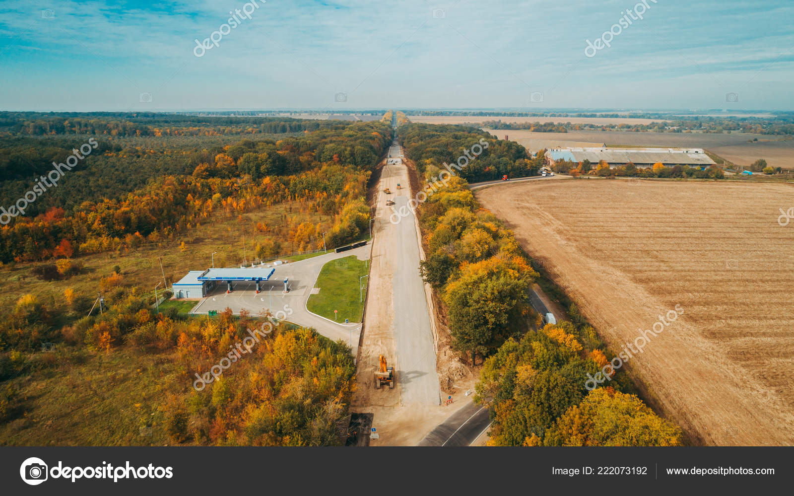 Aerial View Road Construction Process Autumn — Stock Photo