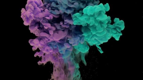 Színes türkiz és lila tintával emelkedik ki a vízben és a keverés, kavargó halkan víz alatti fekete háttér másolási tér. Színezett akril felhő festék elszigetelt. Absztrakt füst robbanás animáció. Timelapse. Lassított mozgás.