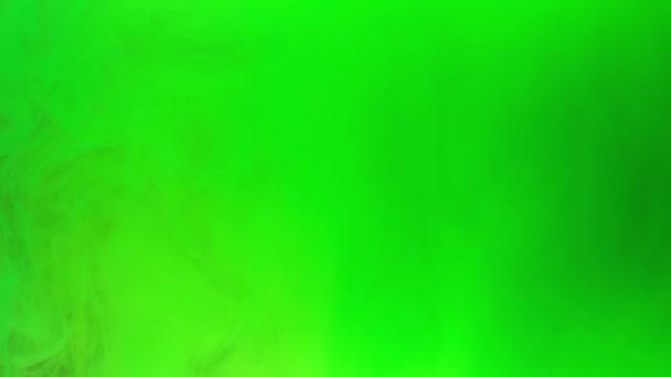 Barvené zelené inkoustovou míchací ve vodě, měkce pod vodou s prostorem pro kopírování. Barevný akrylové obláček barvy izolovaný. Abstraktní animace výbuchu kouře. Vesmír, vesmír. Umělecké pozadí. Timelapse. 4k záběr.