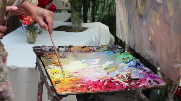 The artists oil palette. A work of art. Still Life and Nature