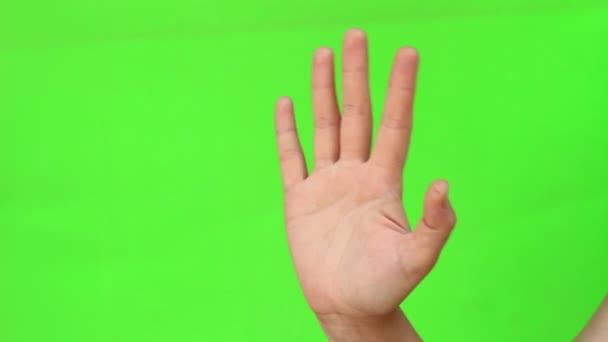 Integetett kézzel mondván Hello és Szia gesztus nő. Odaad gesztus. Elszigetelt. Zöld képernyő chroma-key