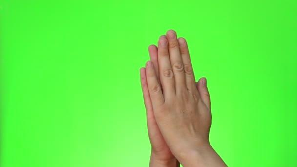 Beadvány a kezét. Két kézzel gesztusok. Chroma-key. Zöld képernyő. Elszigetelt