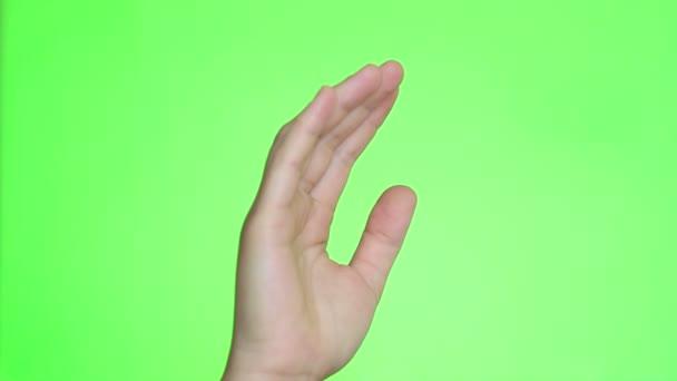 Ujjaival, harapós. Kezek közelről. Chroma key háttér. Zöld képernyő. Elszigetelt