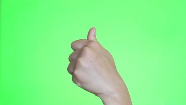 Clinton hüvelykujj. Ököl közelről. Chroma key háttér. Zöld képernyő. Elszigetelt